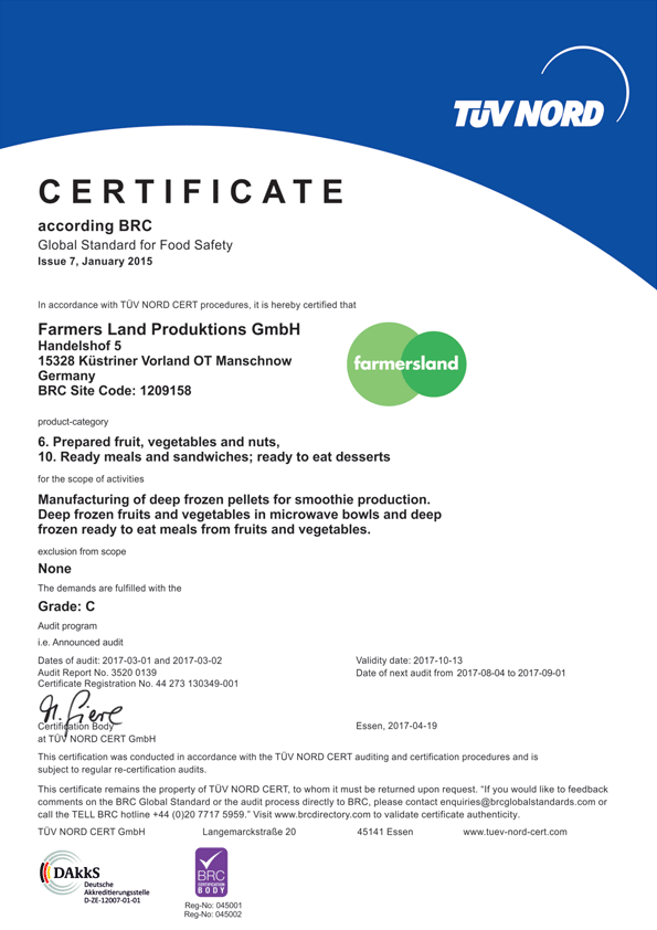 Certificate - Global Standard for Food Safety