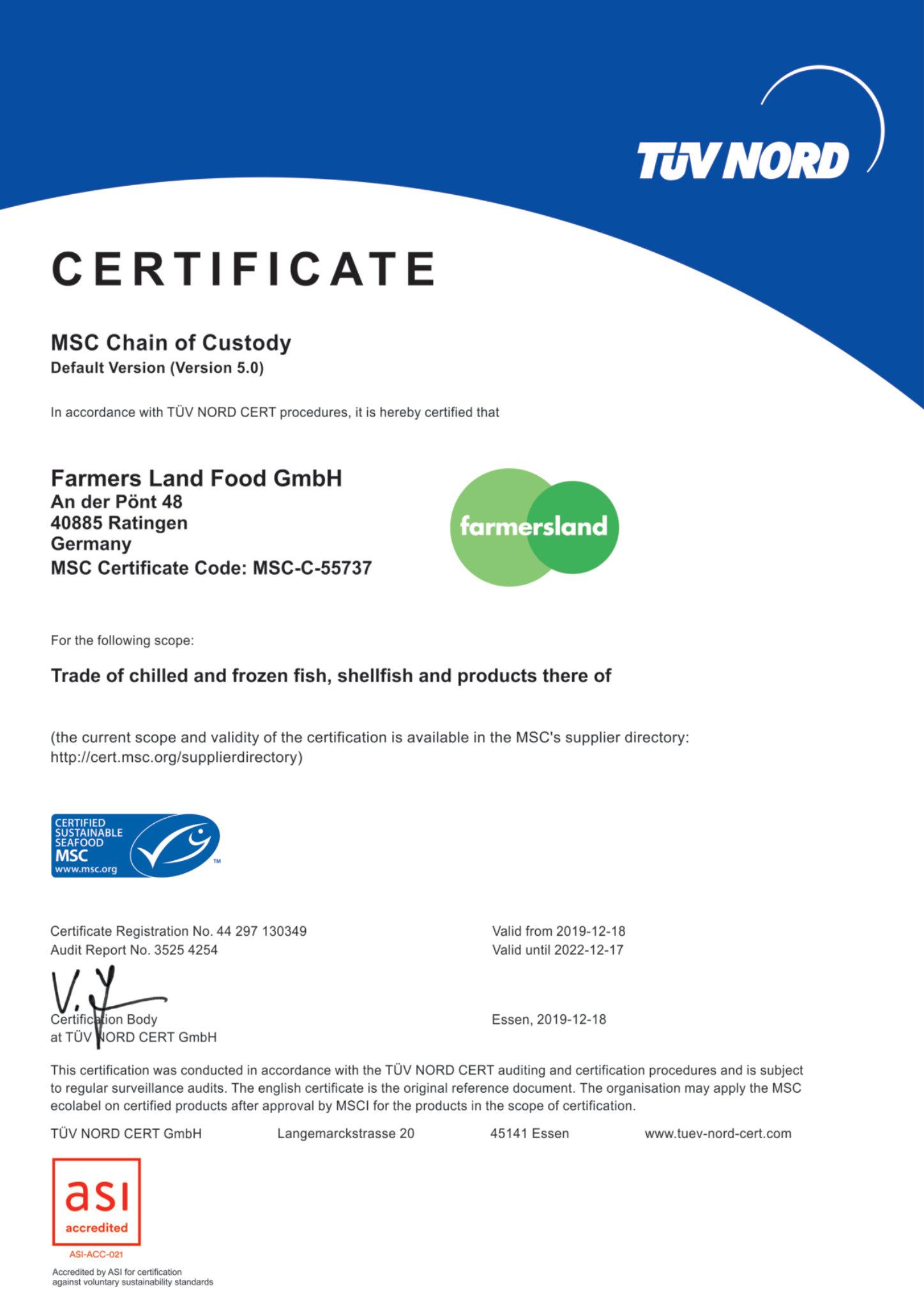 Zertifikat MSC