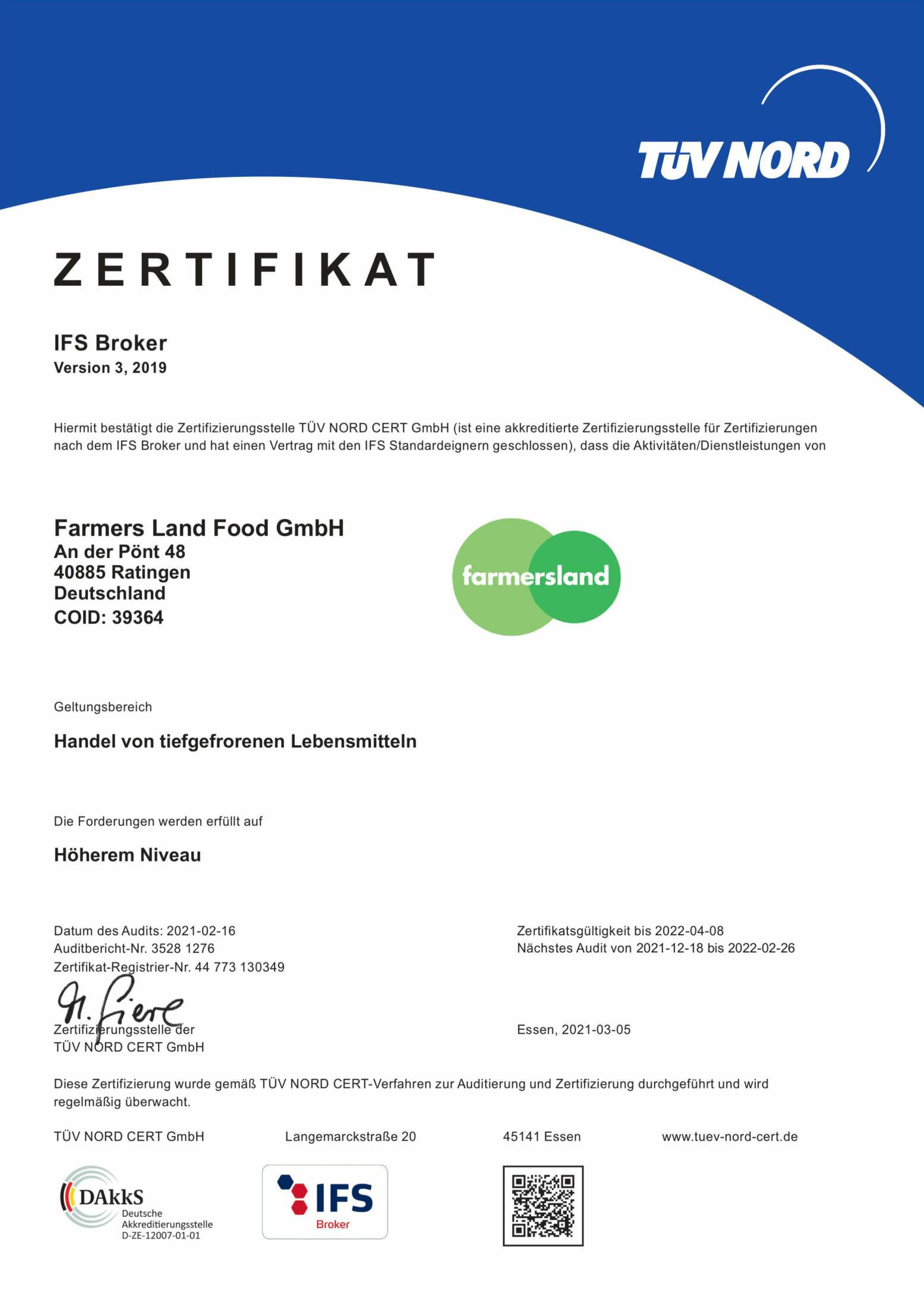 IFS-Zertifikat 2021 / 2022
